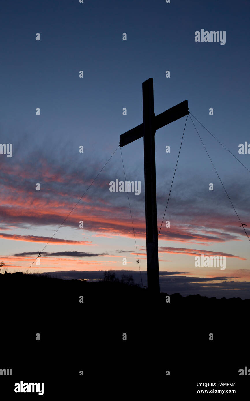 The Easter Cross at Surprise View, Otley Chevin, Otley, Nr Leeds. The wood is salvaged from the Manchester Bomb - Stock Image