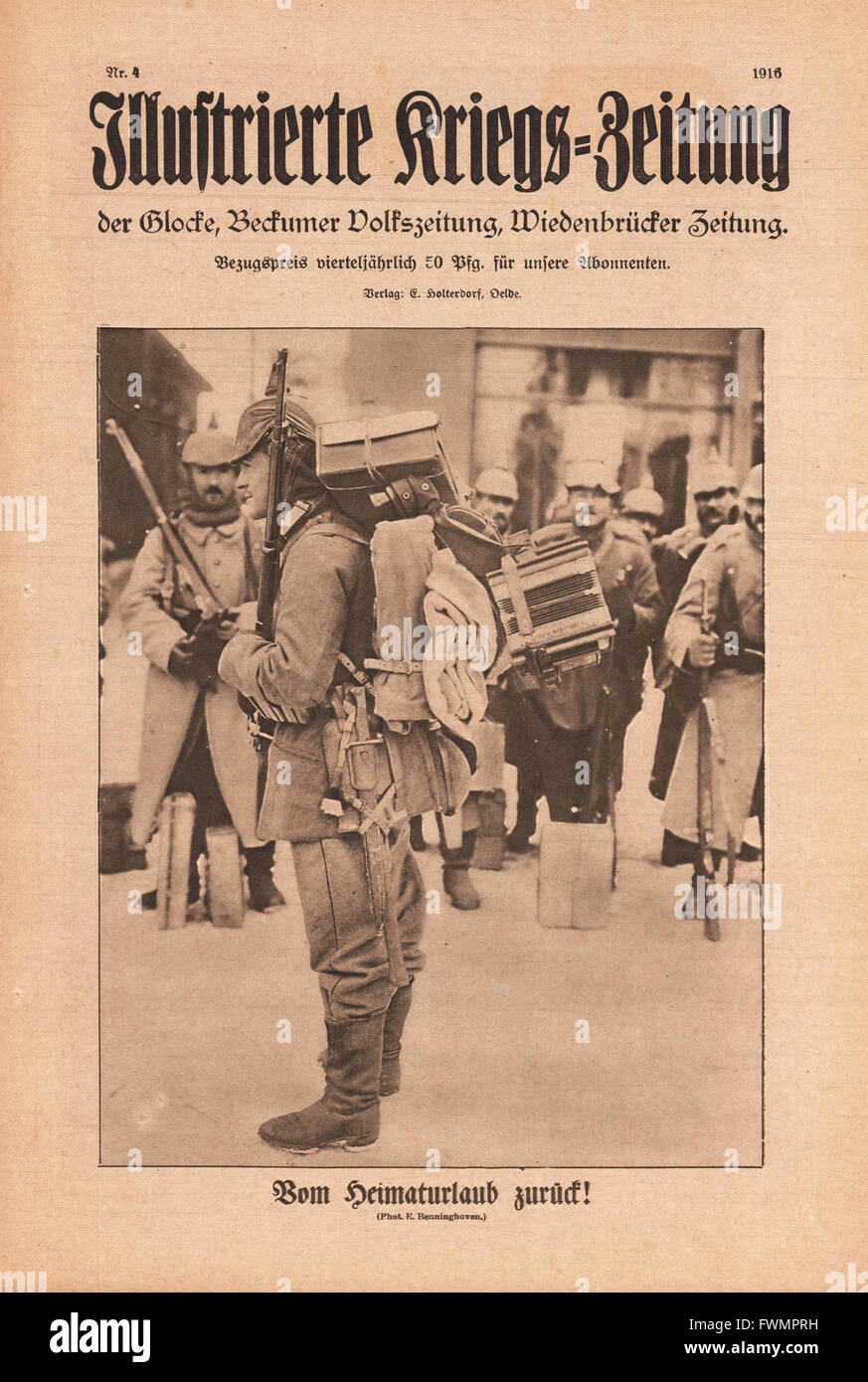 1916 Illustrierte Kriegs-Zeitung front page Back to the Front after home leave Stock Photo