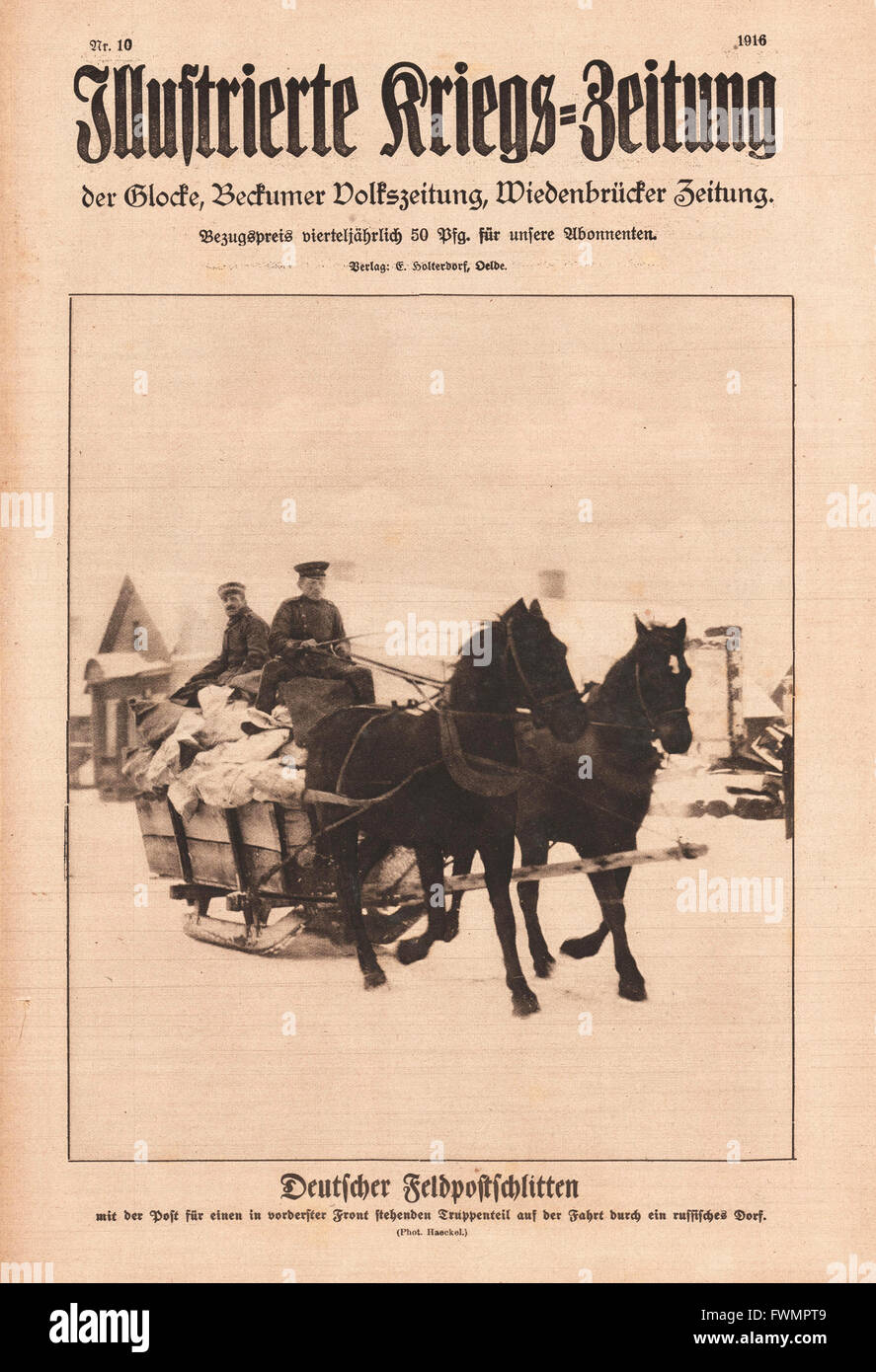1916 Illustrierte Kriegs-Zeitung front page German field post sleigh Stock Photo