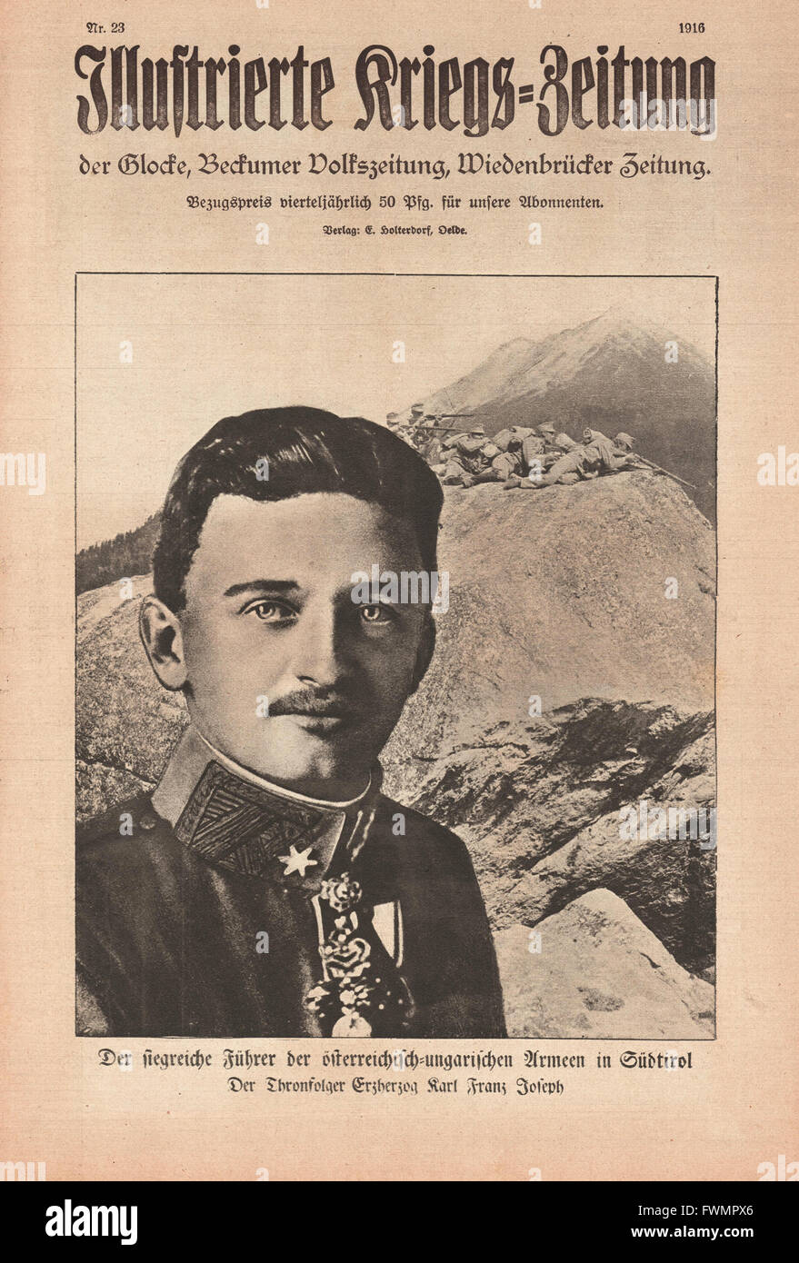 1916 Illustrierte Kriegs-Zeitung front page Charles I of Austria Stock Photo