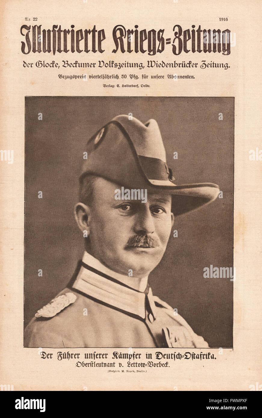 1916 Illustrierte Kriegs-Zeitung front page General Paul Emil von Lettow-Vorbeck - Stock Image