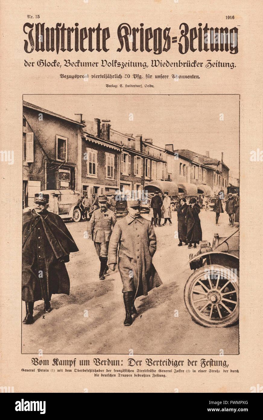 1916 Illustrierte Kriegs-Zeitung front page Marshal Joseph Joffre Stock Photo