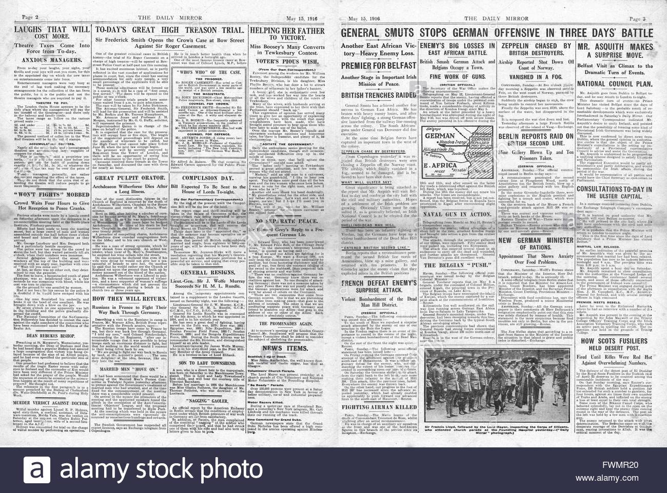 1916 Daily Mirror pages 2 & 3 General Smuts stops German offensive in East Africa and trial of Roger Casement opens Stock Photo