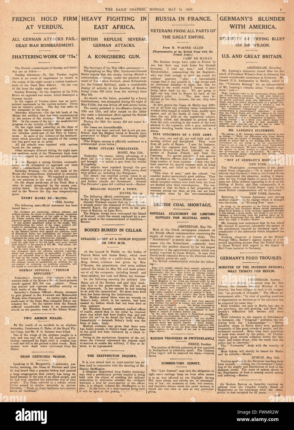 1916 Daily Graphic page 7 Heavy fighting in East Africa, French army at Verdun, and British coal shortage Stock Photo