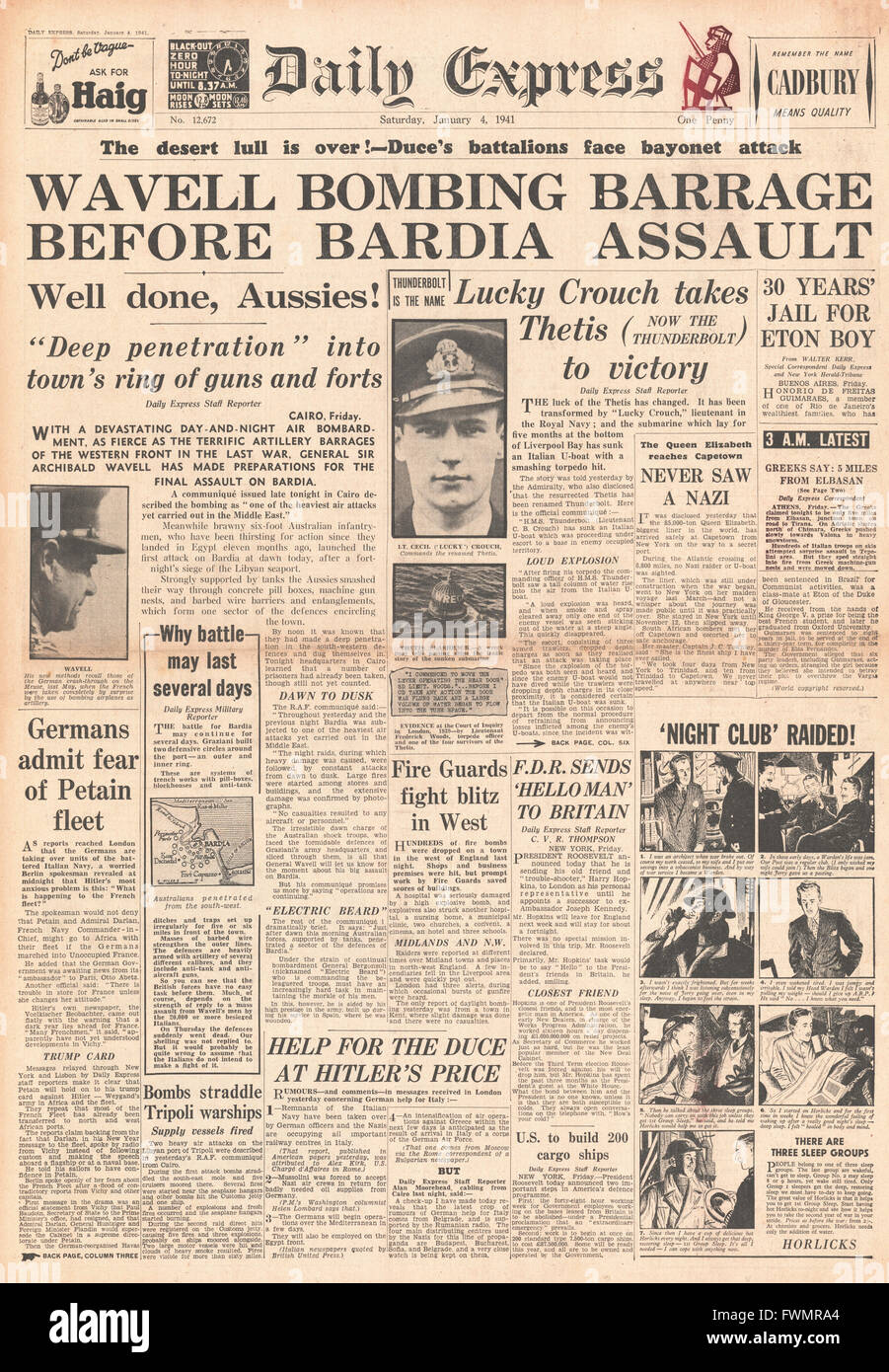 1941 front page Daily Express General Wavell and Allies bombard Bardia and HMS Thunderbolt torpedo's and sinks - Stock Image
