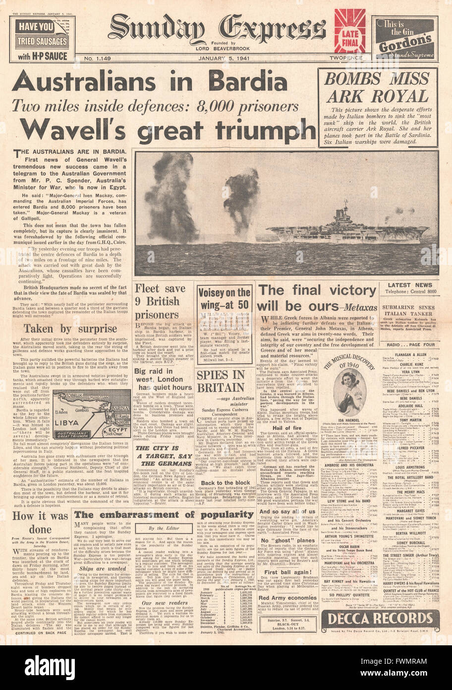 1941 front page Sunday Express Australian Troops Enter Bardia and HMS Ark Royal under fire - Stock Image