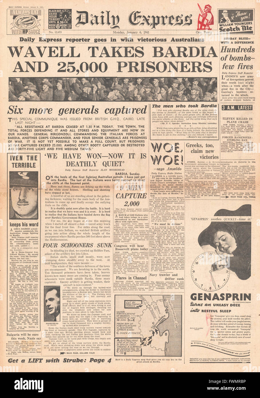 1941 front page  Daily Express Surrender of Bardia to Allied Forces - Stock Image