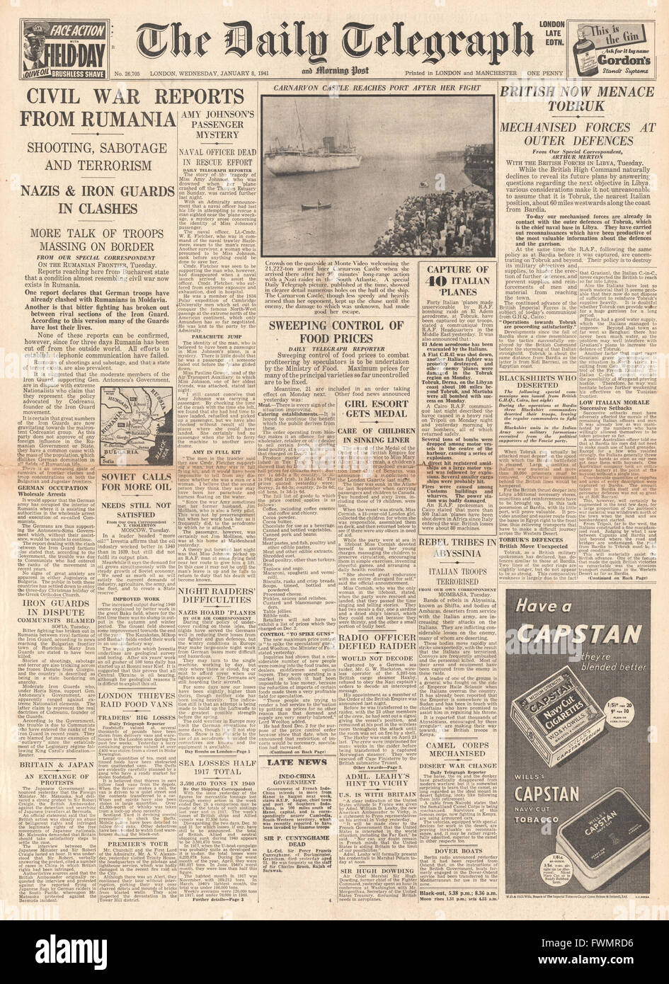 1941 front page Daily Telegraph British Army advance on Tobruk, Civil War reports from Romania and Ministry of Food - Stock Image