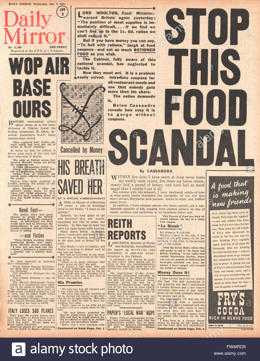1941 front page Daily Mirror Cassandra writes critical article on Food Scandal - Stock Image