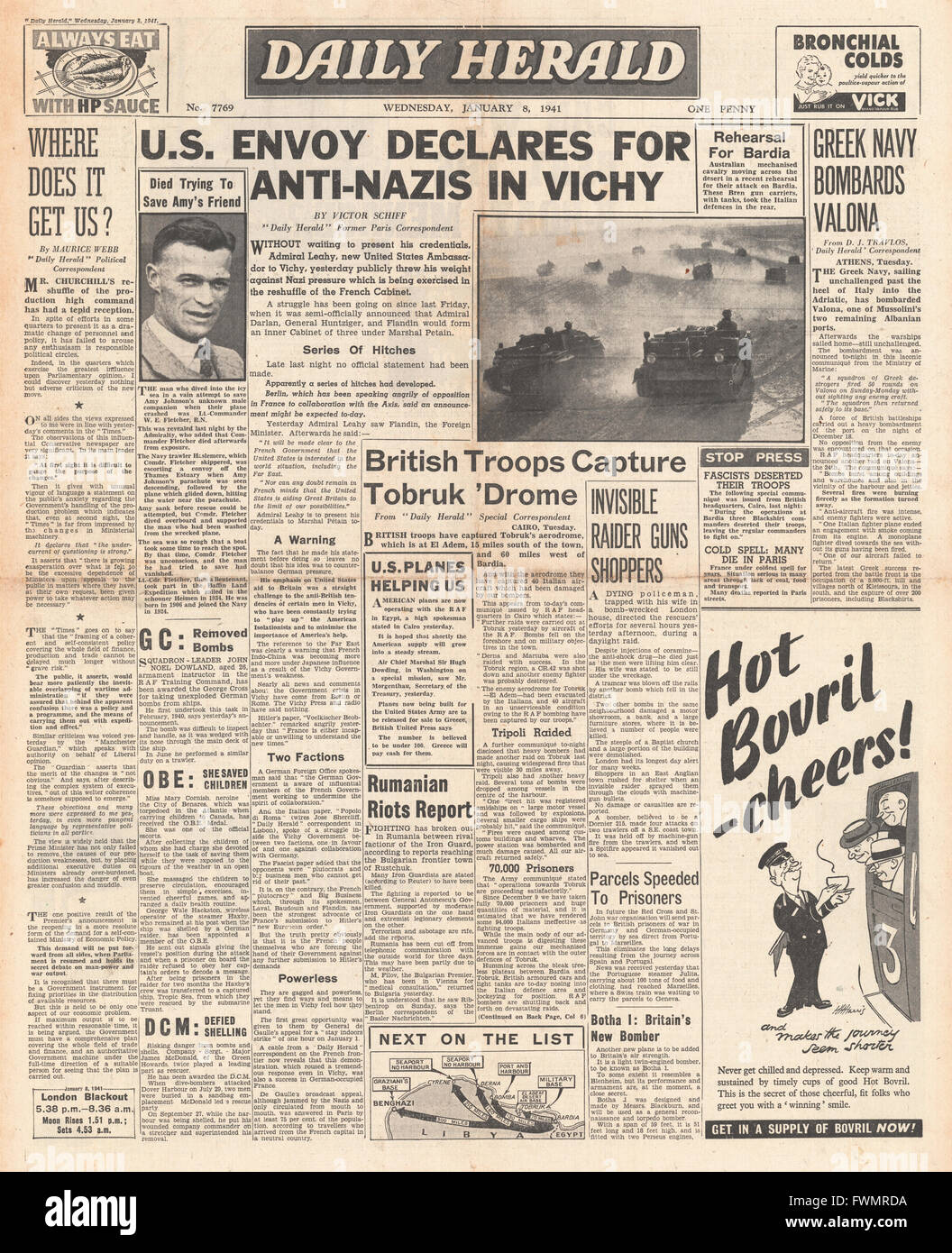 1941 front page Daily Herald US envoy to Vichy France Admiral Leahy and British Forces advance on Tobruk - Stock Image