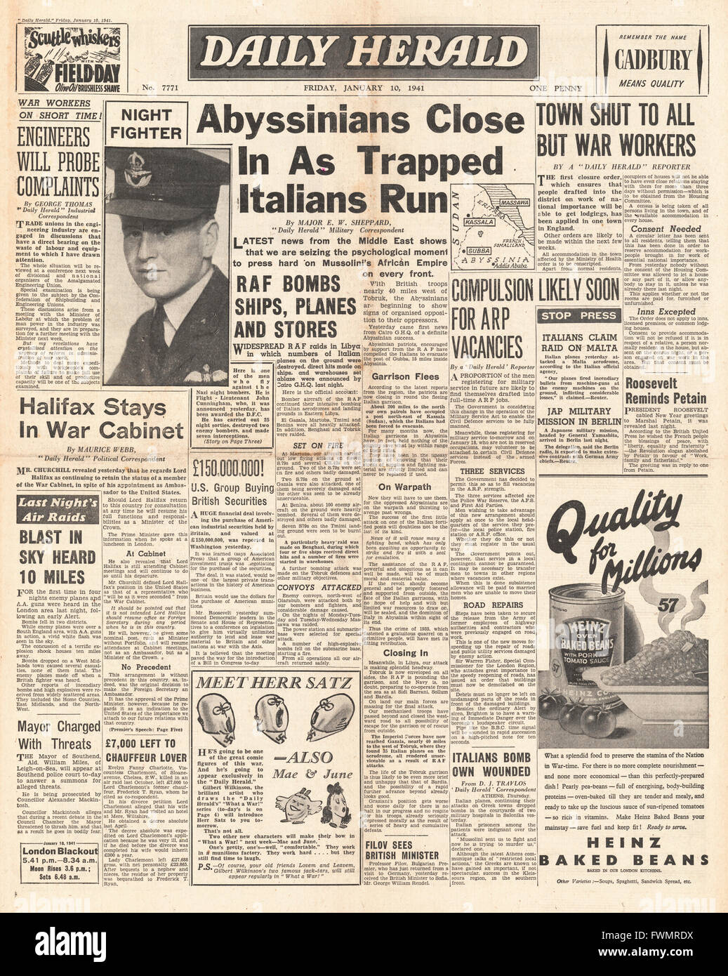 1941 front page Daily Herald Italians routed in Ethiopia and John Cunningham wins the DFC - Stock Image
