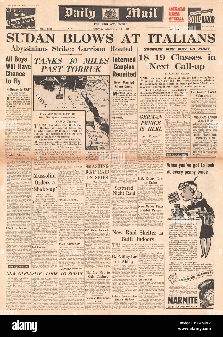 1941 front page Daily Mail Italians routed in Ethiopia, John Cunningham wins the DFC and 18 and 19 year olds next - Stock Image