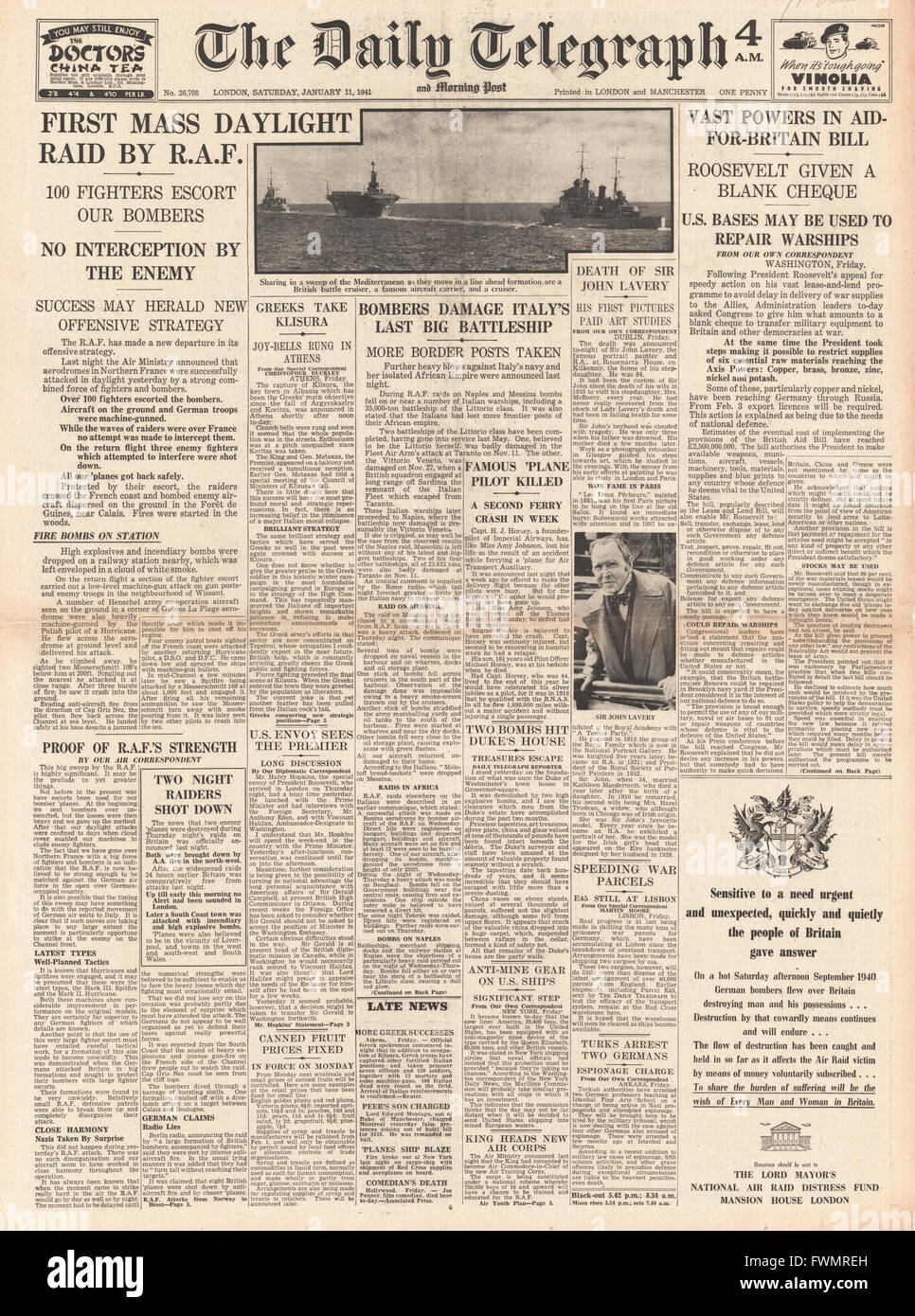 1941 front page Daily Telegraph First RAF mass daylight raid and unlimited US aid for Britain - Stock Image