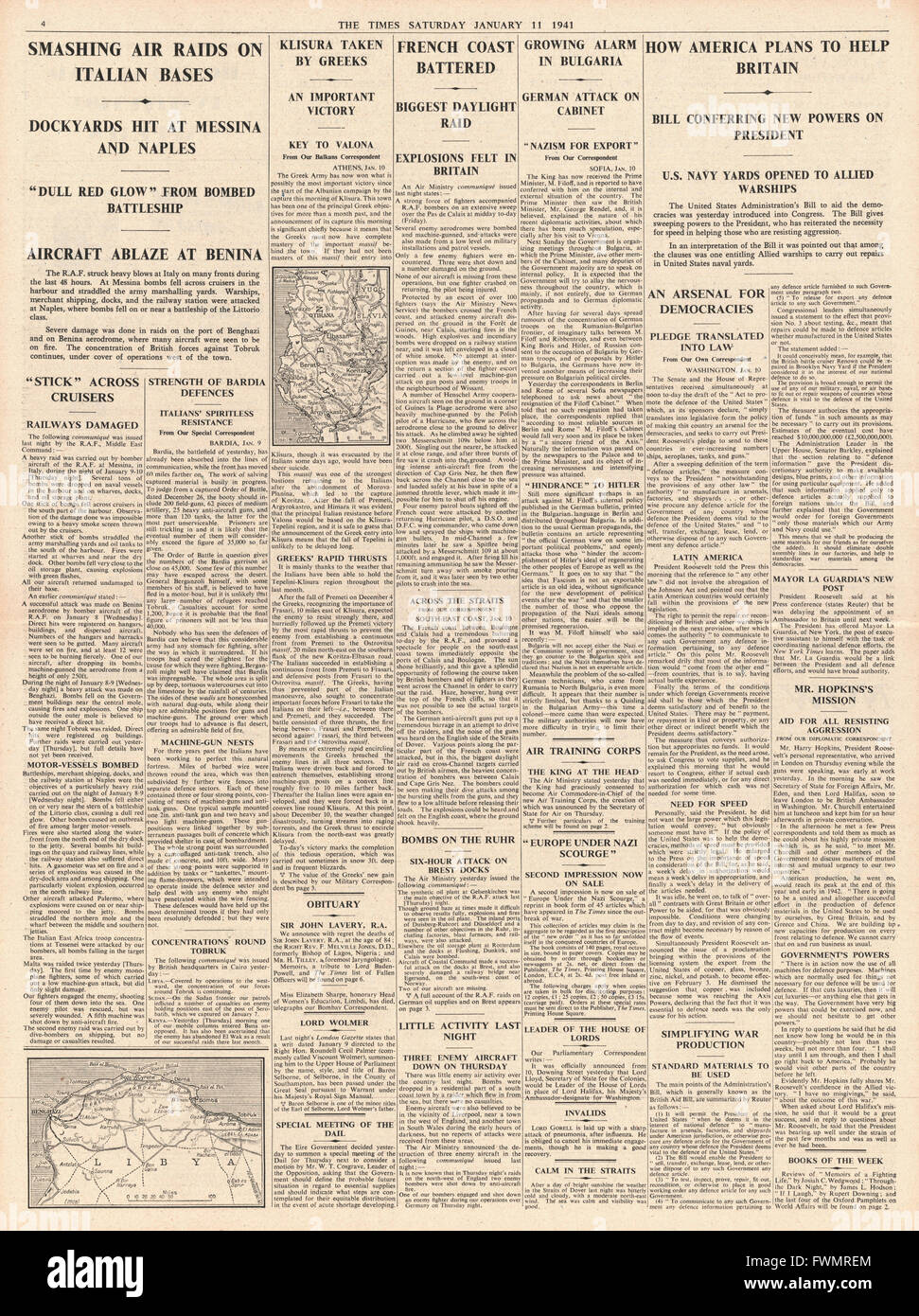 1941 page 4 The Times First RAF mass daylight raid and unlimited US aid for Britain - Stock Image