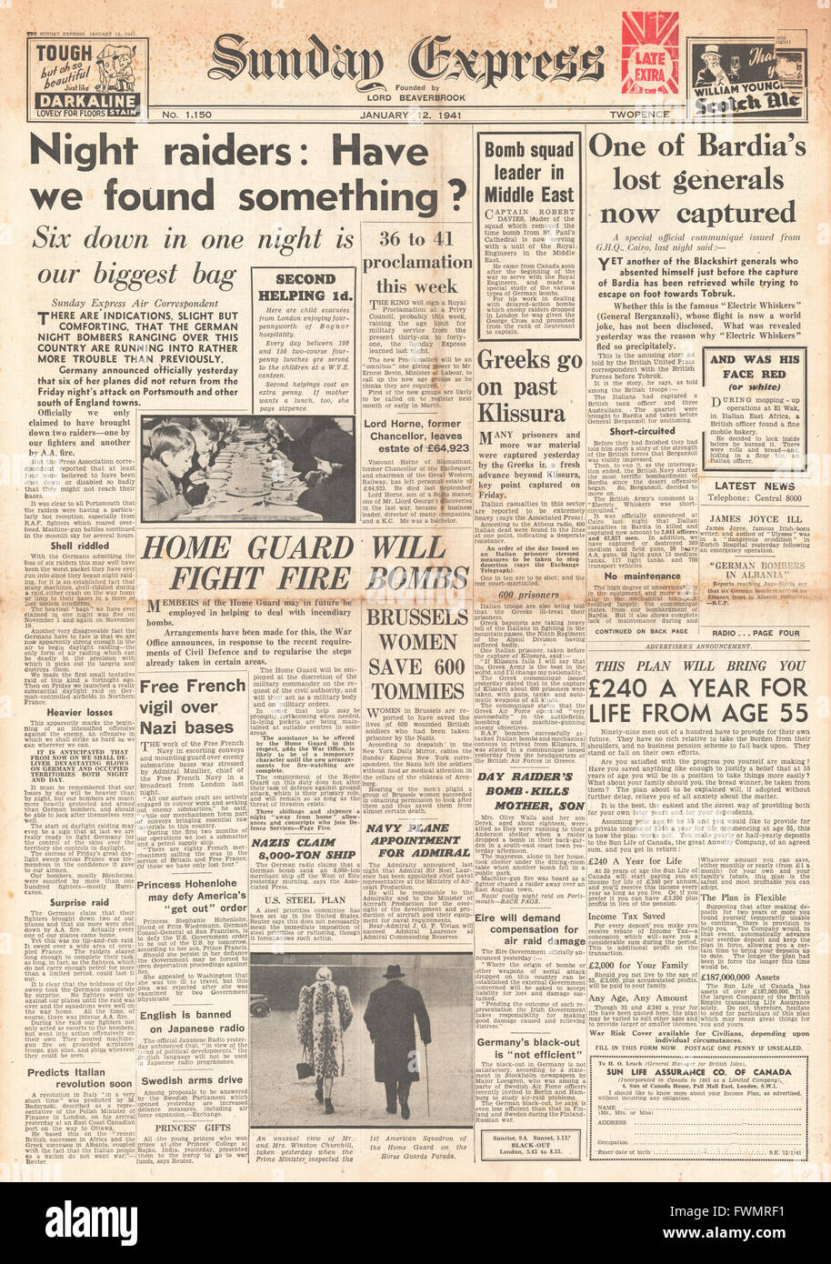 1941 front page  Sunday Express Night Raids on Britain and General Berganzoli captured - Stock Image
