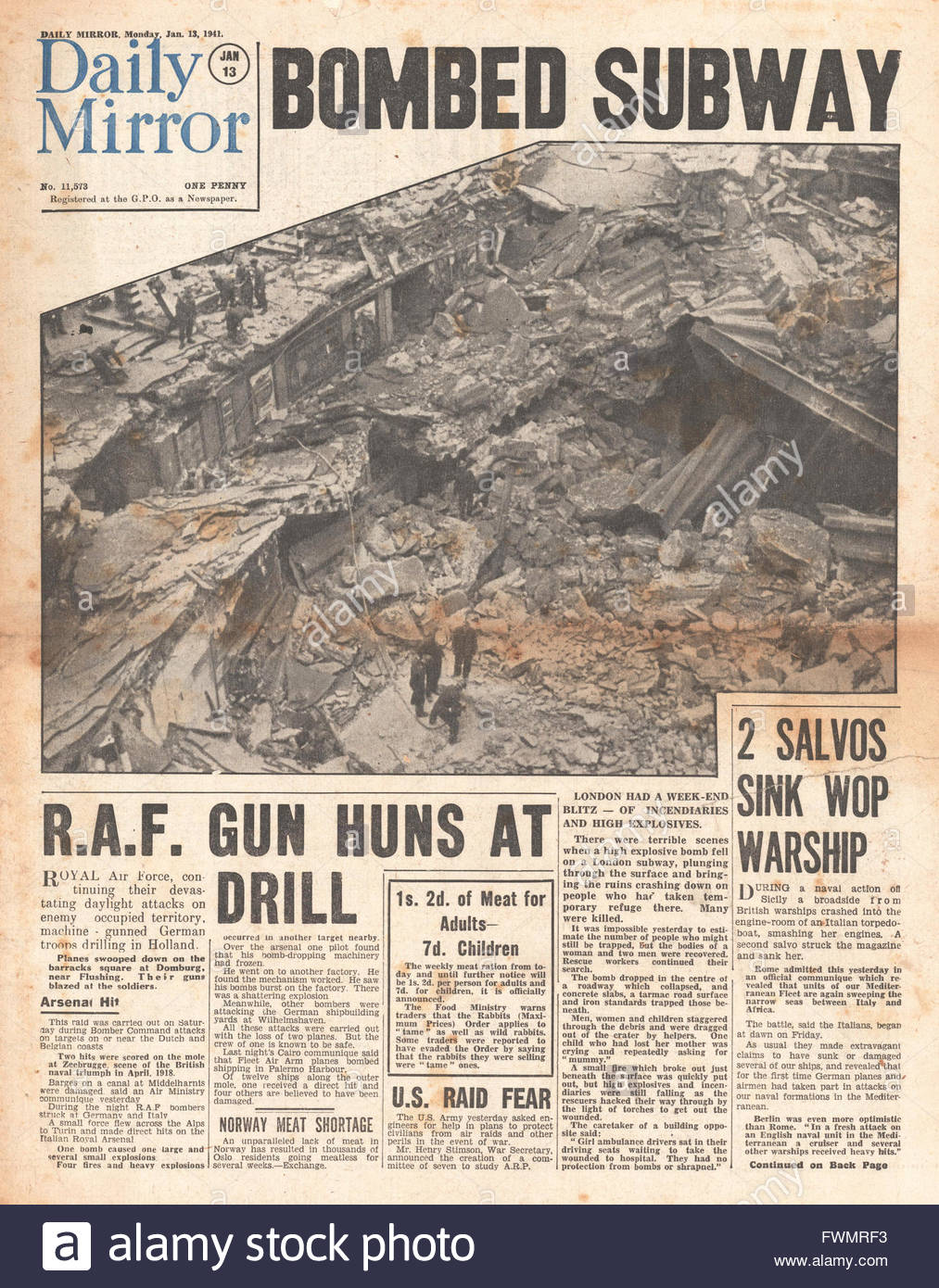 1941 front page Daily Mirror London Subway bombed - Stock Image