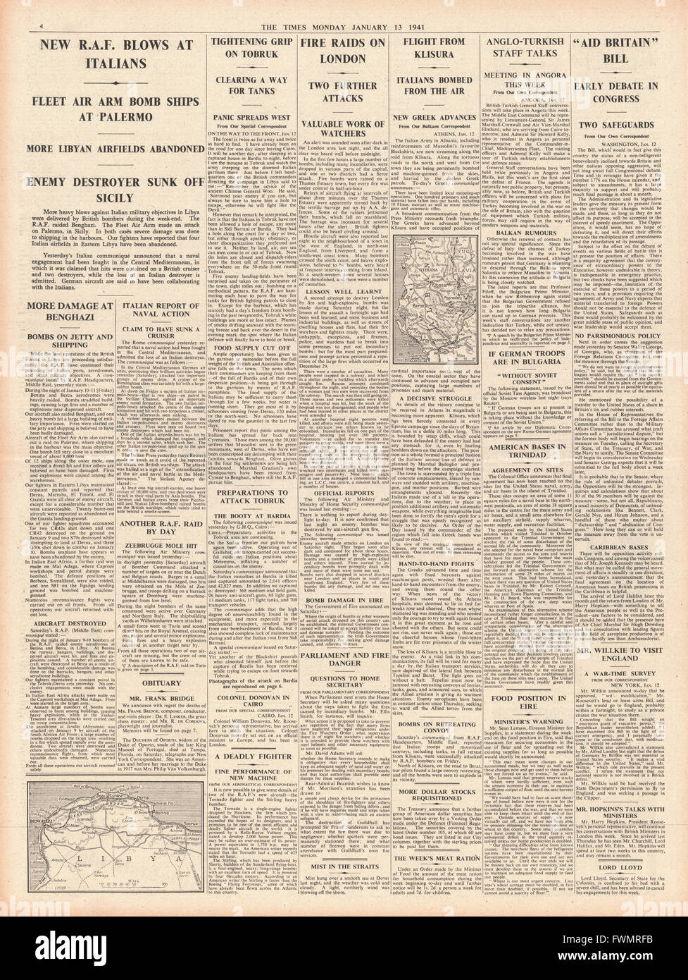 1941 page 4 The Times Luftwaffe Bomb London and RAF Bomb Italy and Libya - Stock Image