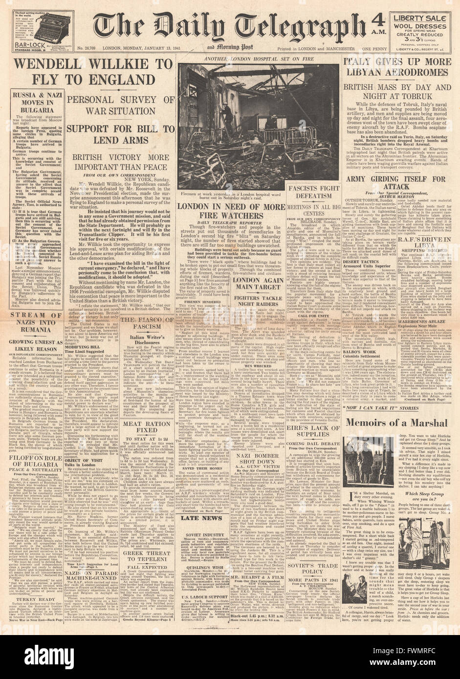 1941 front page Daily Telegraph Wendell Willkie to fly to Britain and Italian Forces retreat in Libya - Stock Image
