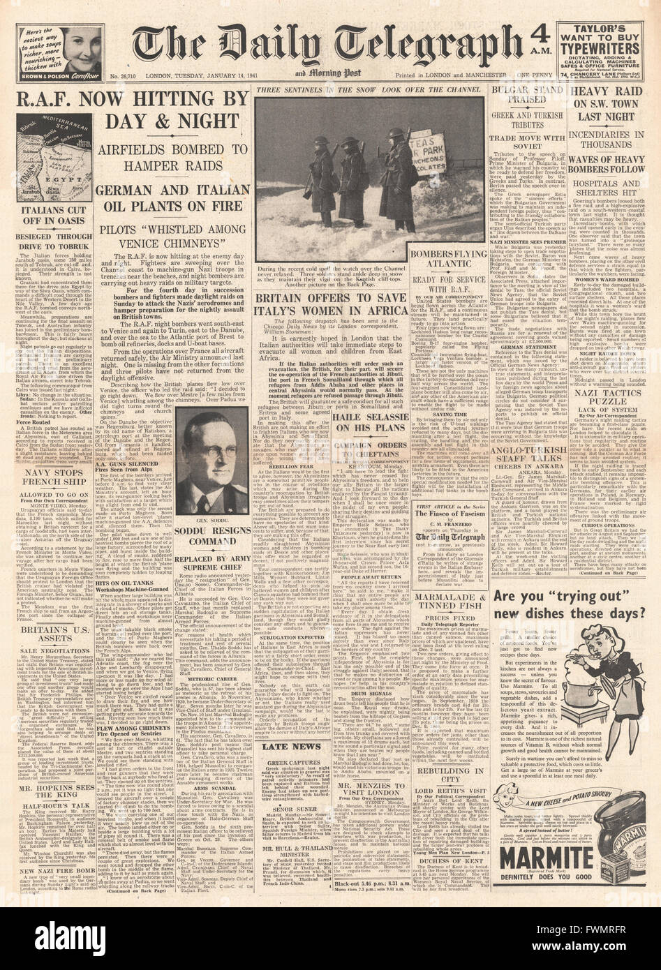 1941 front page  Daily Telegraph RAF making day and night raids - Stock Image