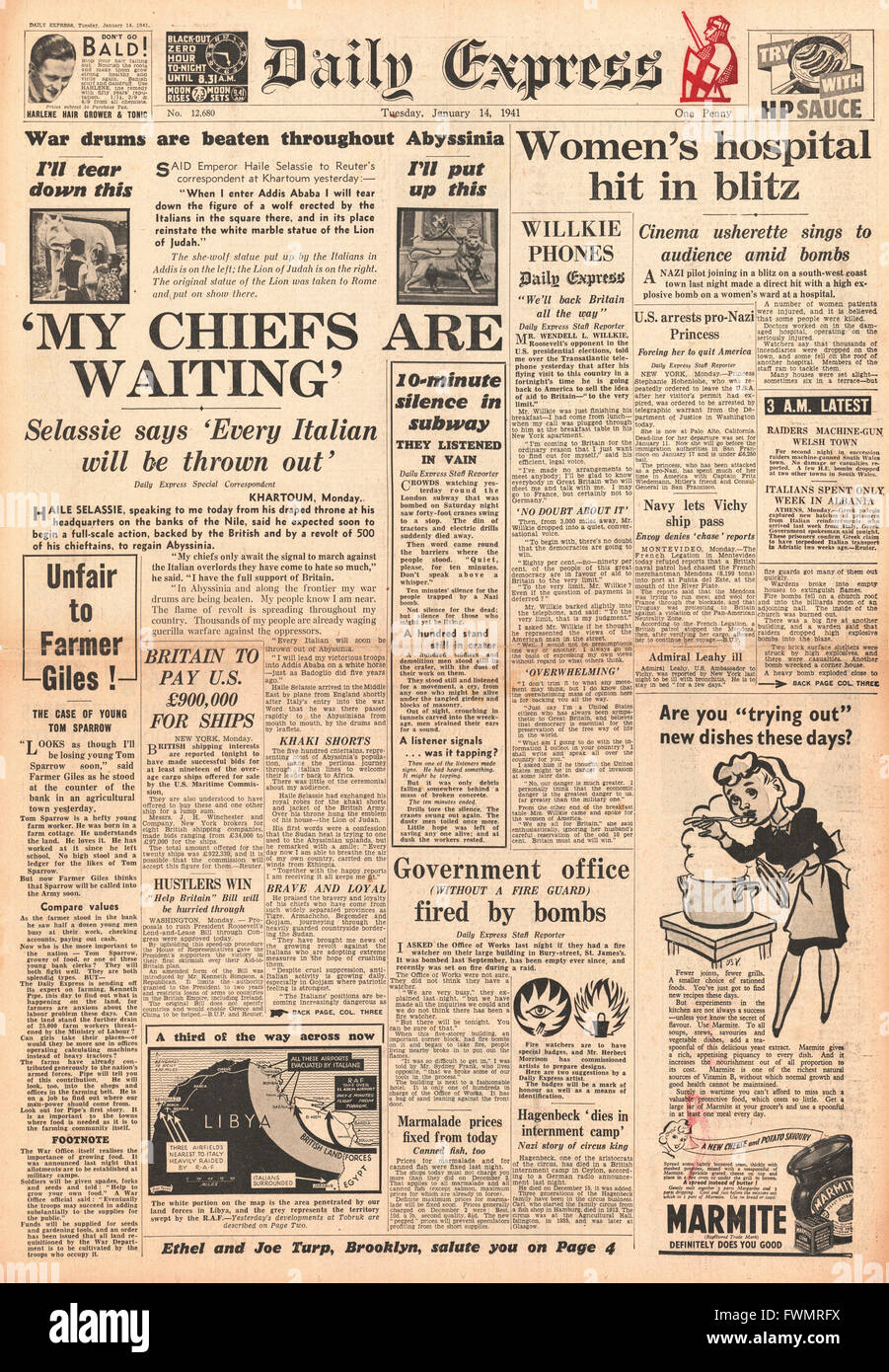 1941 front page Daily Express Emperor Haile Selassie puts troops on standby in Abyssina - Stock Image
