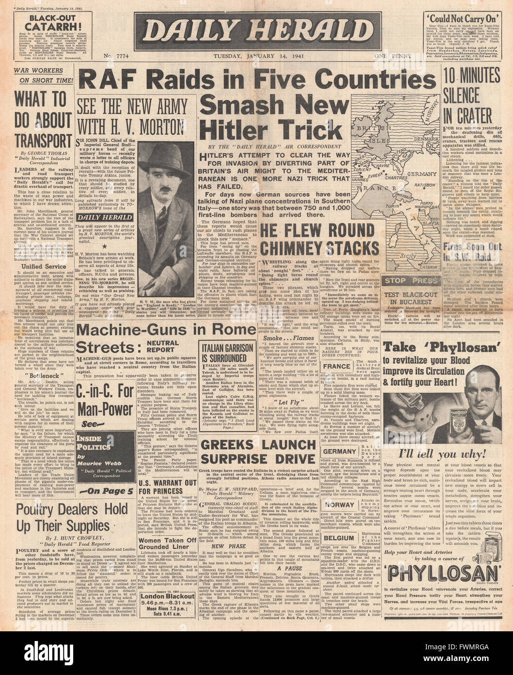 1941 front page  Daily Herald RAF making day and night raids - Stock Image