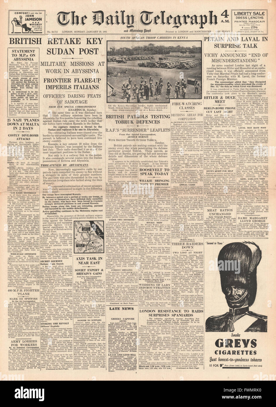 1941 front page Daily Telegraph British re-capture Kassala in Sudan and Petain and Laval in talks - Stock Image