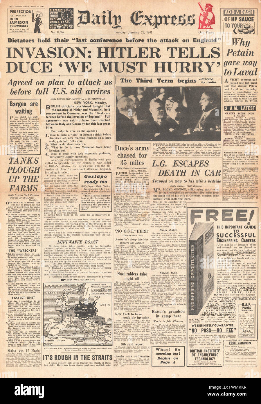 1941 front page Daily Express Hitler and Mussolini discuss invasion plans  and President Roosevelt inauguration - Stock Image