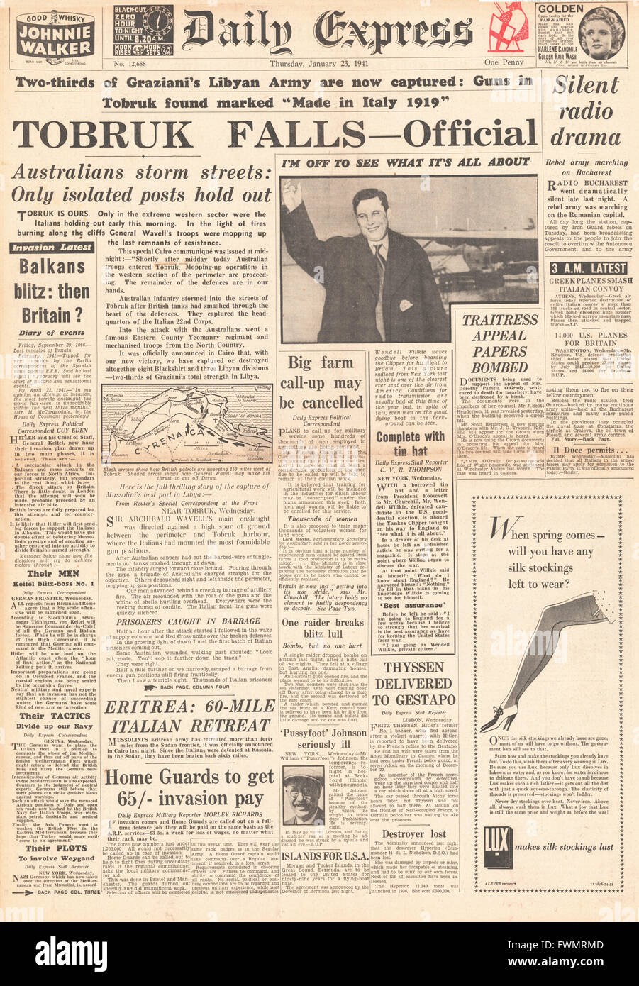 1941 front page Daily Express Fall of Tobruk to Allies - Stock Image