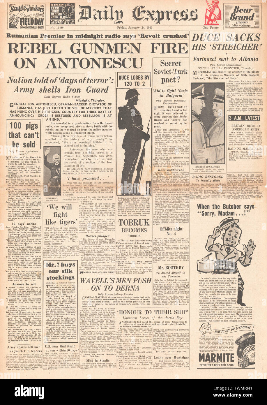 1941 front page Daily Express Antonescu crushes revolt in Romania and Mussolini sacks Minister of State Roberto - Stock Image