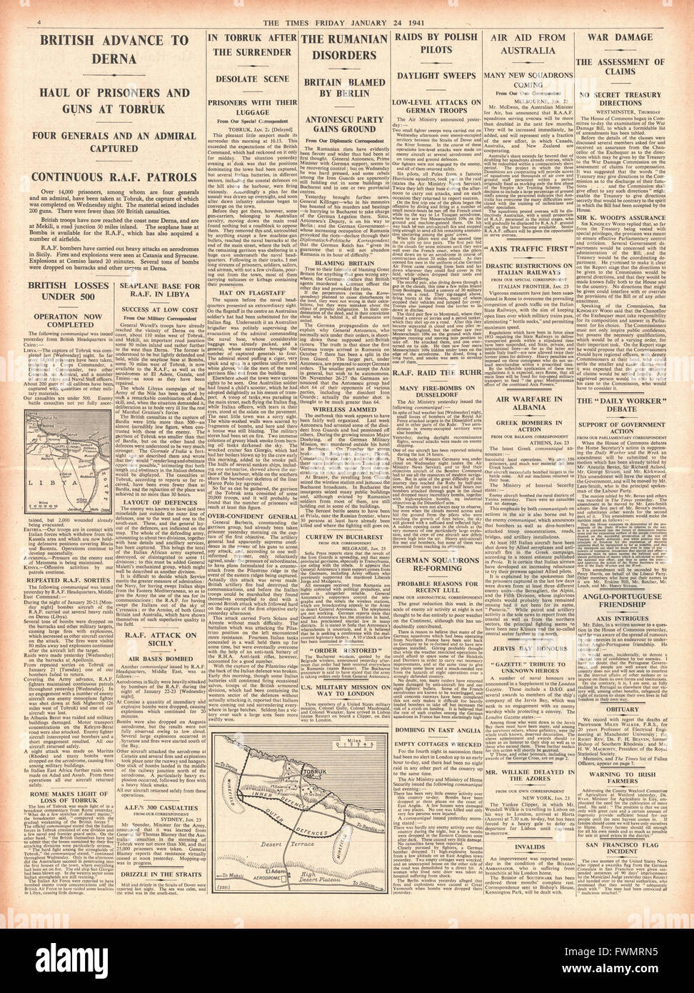 1941 page 4 The Times Allied Forces Capture Tobruk and advance to Derna - Stock Image