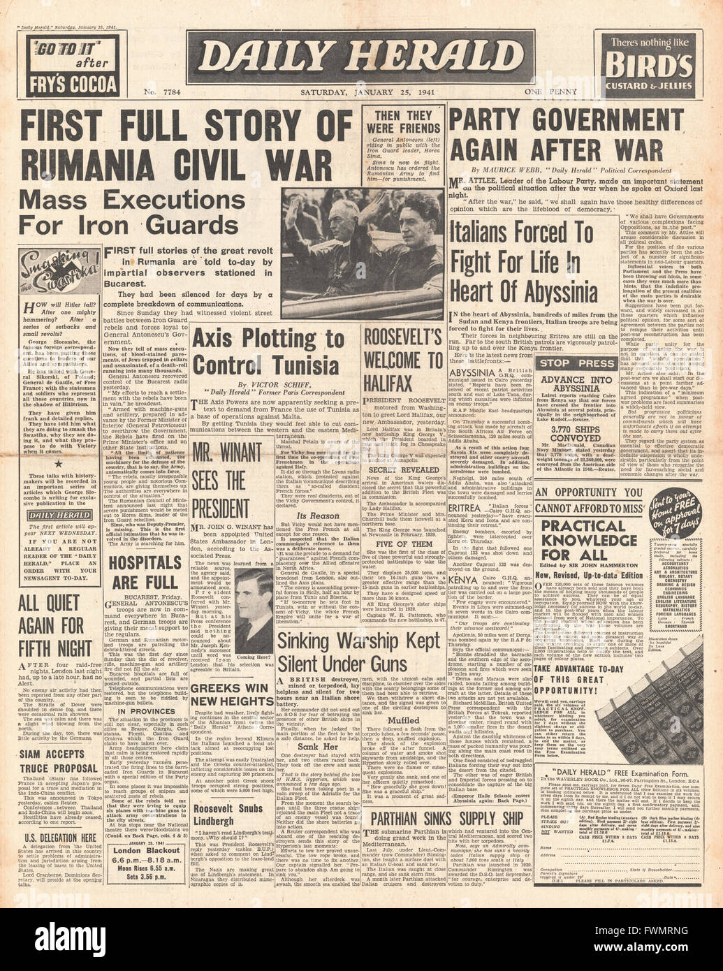 1941 front page Daily Herald First full story of Romanian civil unrest - Stock Image