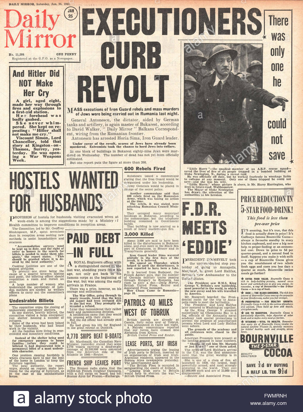 1941 front page  Daily Mirror Civil unrest and executions in Romania - Stock Image