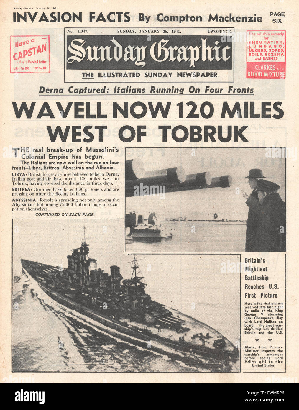 1941 front page  Sunday Graphic British 100 miles beyond Tobruk and Lord Halifax on tour in America - Stock Image