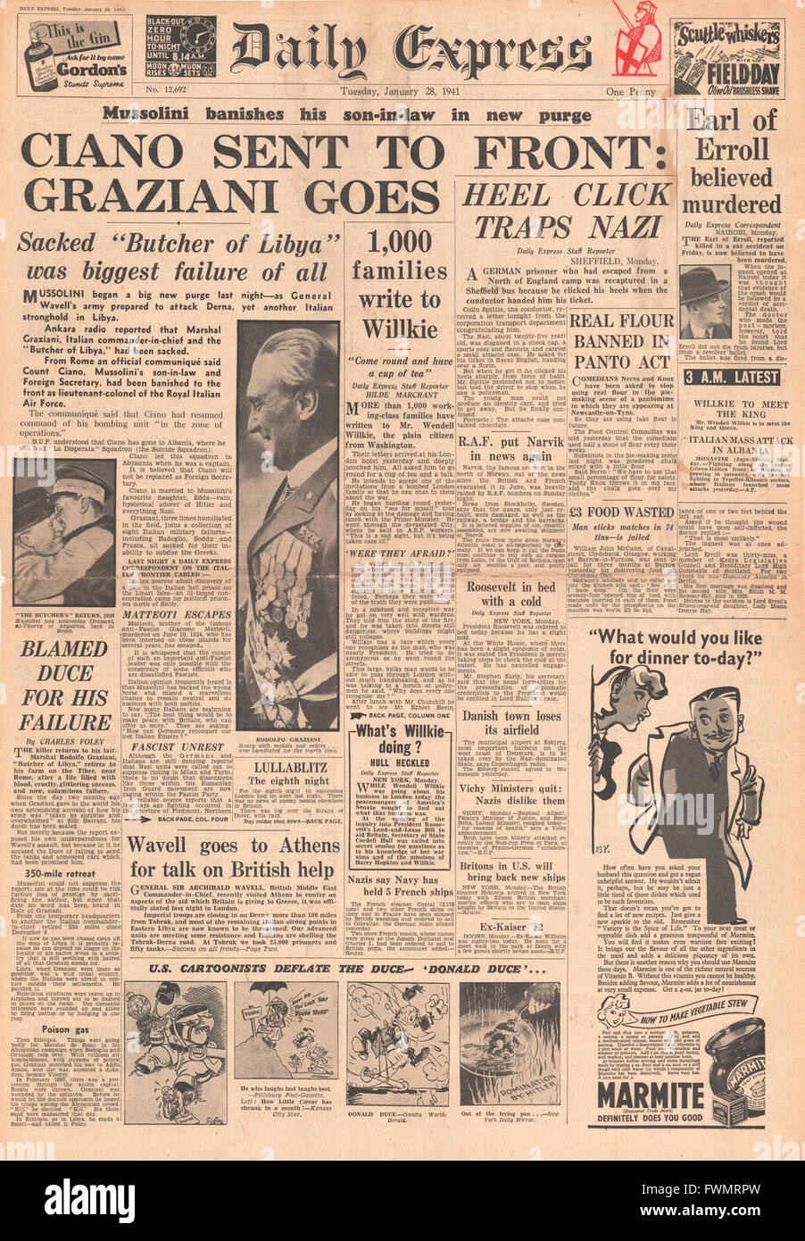 1941 front page Daily Express Mussolini sacks Count Ciano and Marshal Graziani and Lord Erroll shot in Kenya - Stock Image