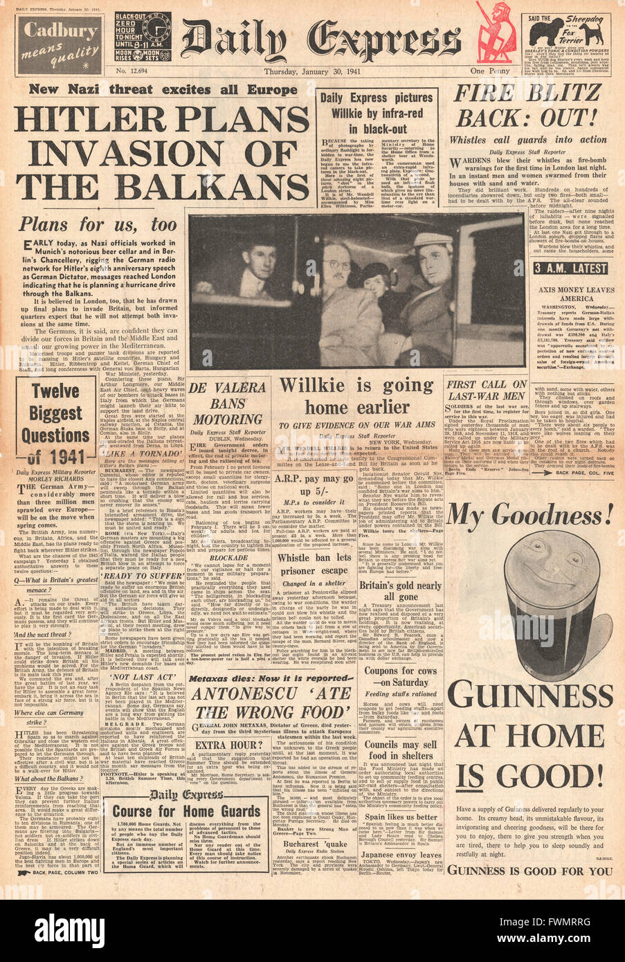 1941 front page Daily Express Hitler plans invasion of the Balkans and ARP's blow whistles as fire bomb warnings - Stock Image