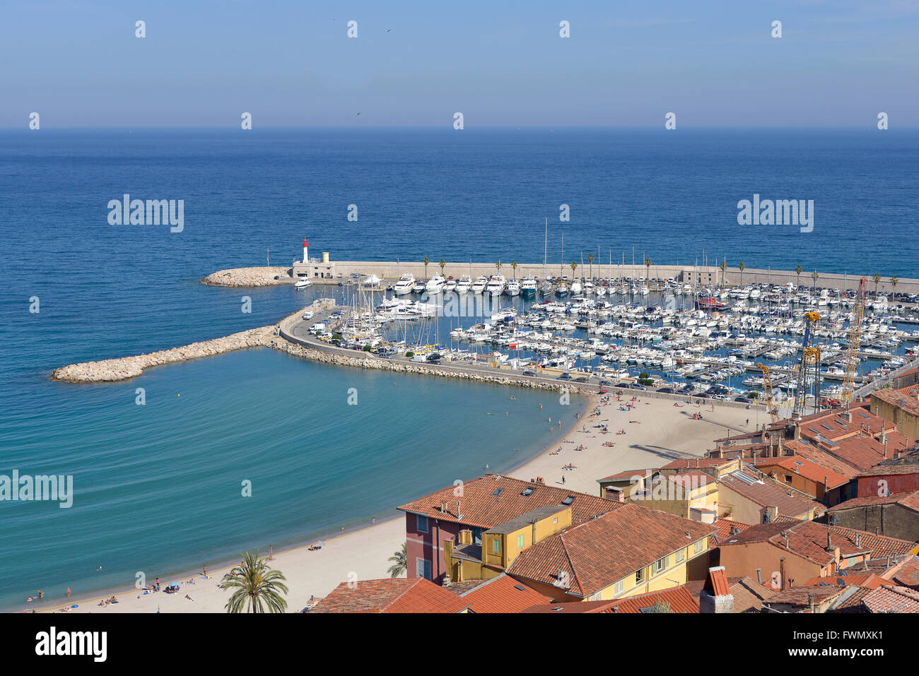 Port and beach of Menton in France Stock Photo