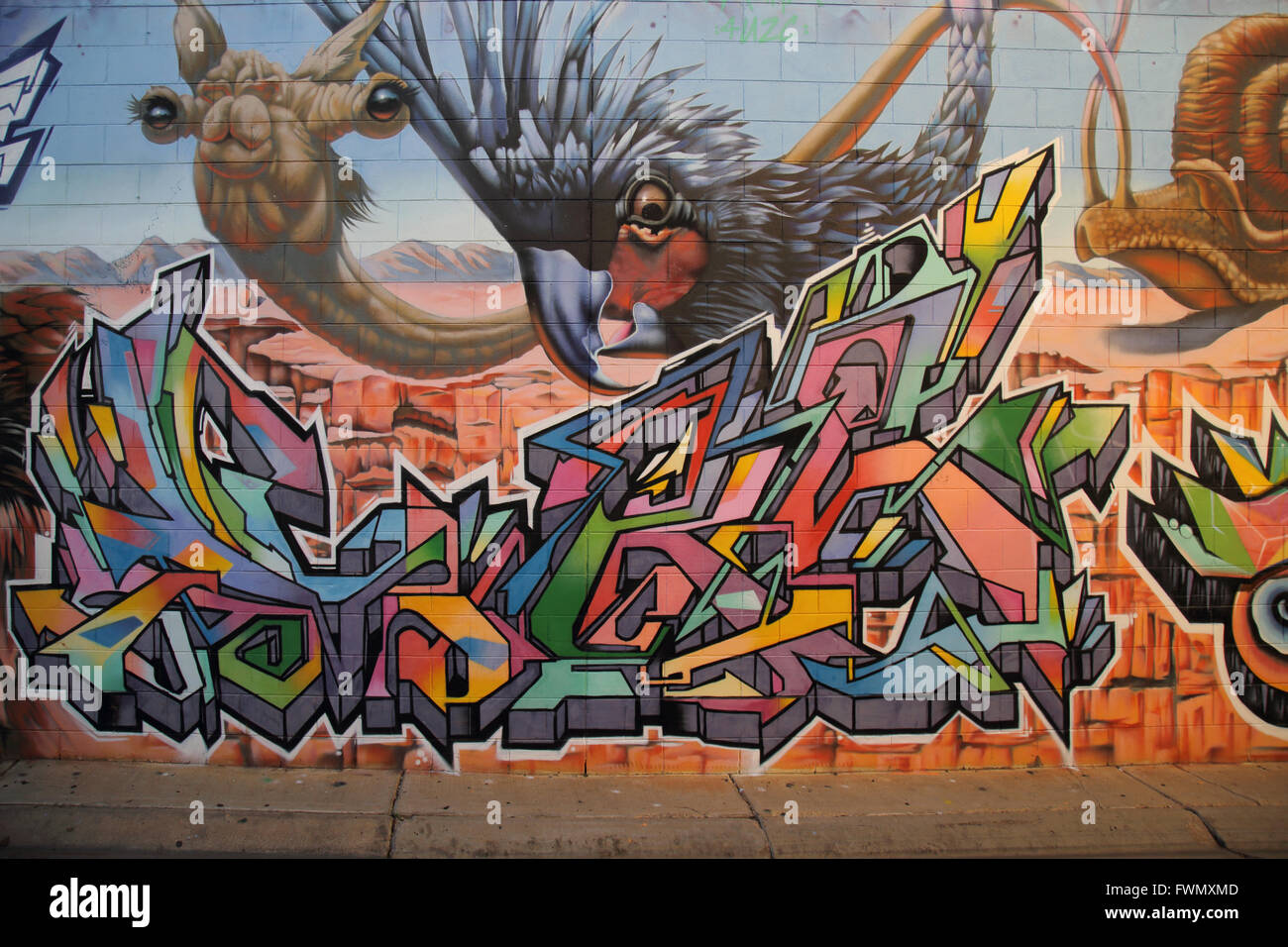 wall art in alice springs in the northern territory of australia - Stock Image