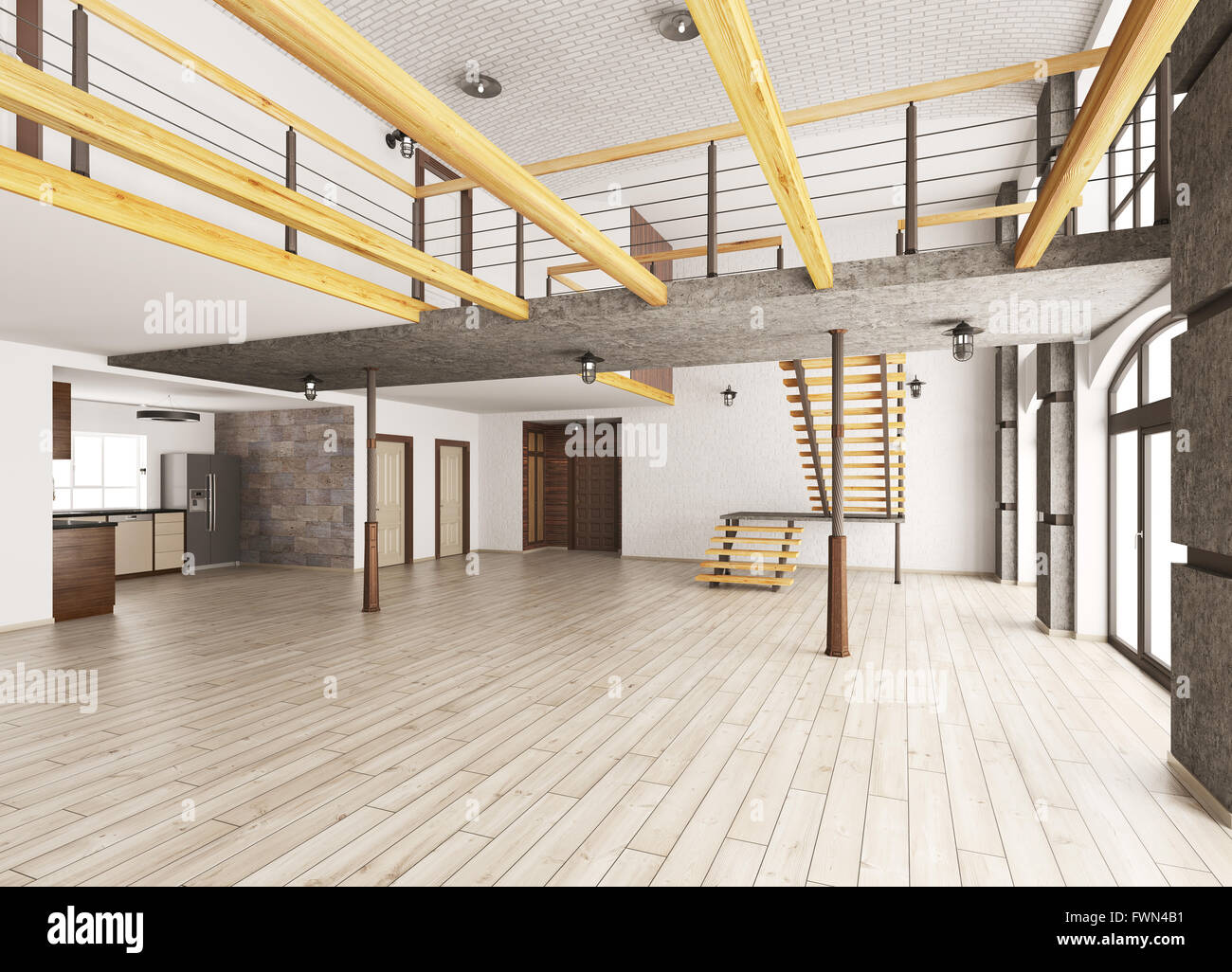 Empty Interior Of Loft Apartment Living Room Hall Kitchen Staircase 3d  Rendering