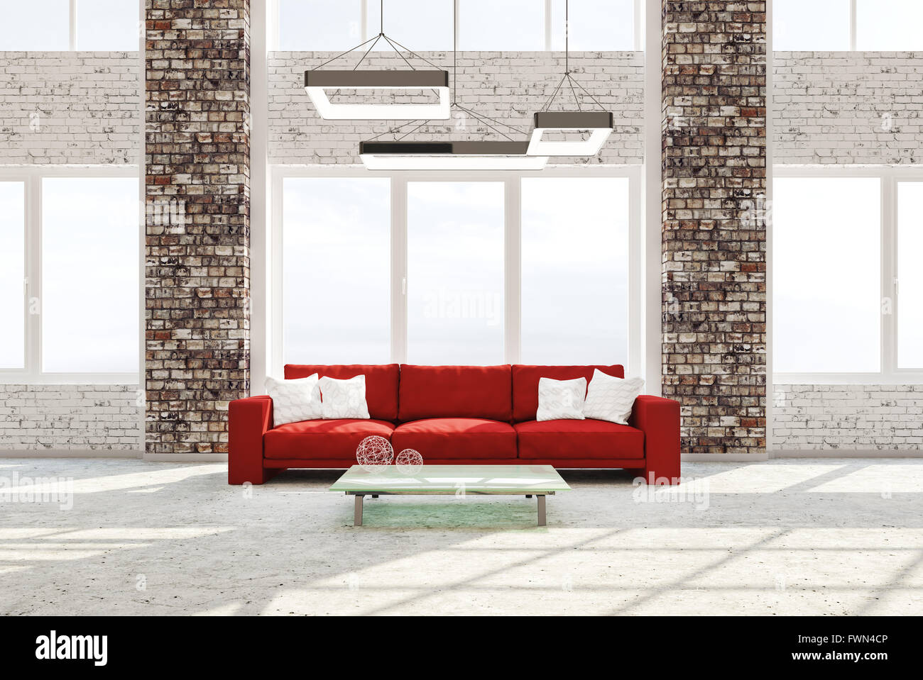 Modern interior of living room with brick columns concrete floor red ...