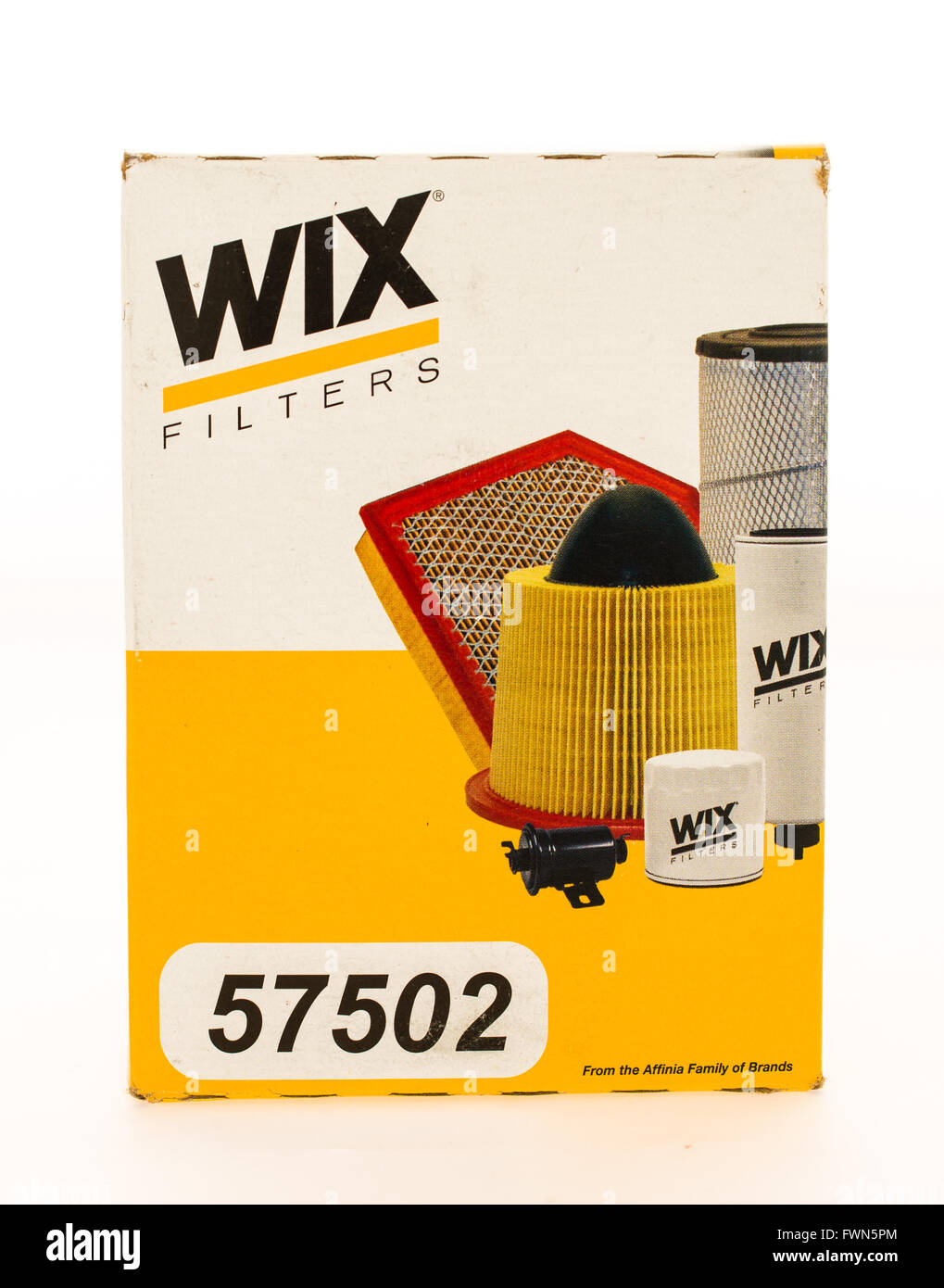 Winneconne, WI - 23 August 2015:  Box of a Wix oil flter. - Stock Image