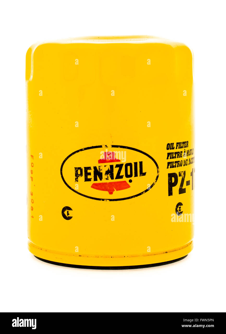 Winneconne, WI - 23 August 2015:  Pennzoil oil filter used on vehicles. Stock Photo