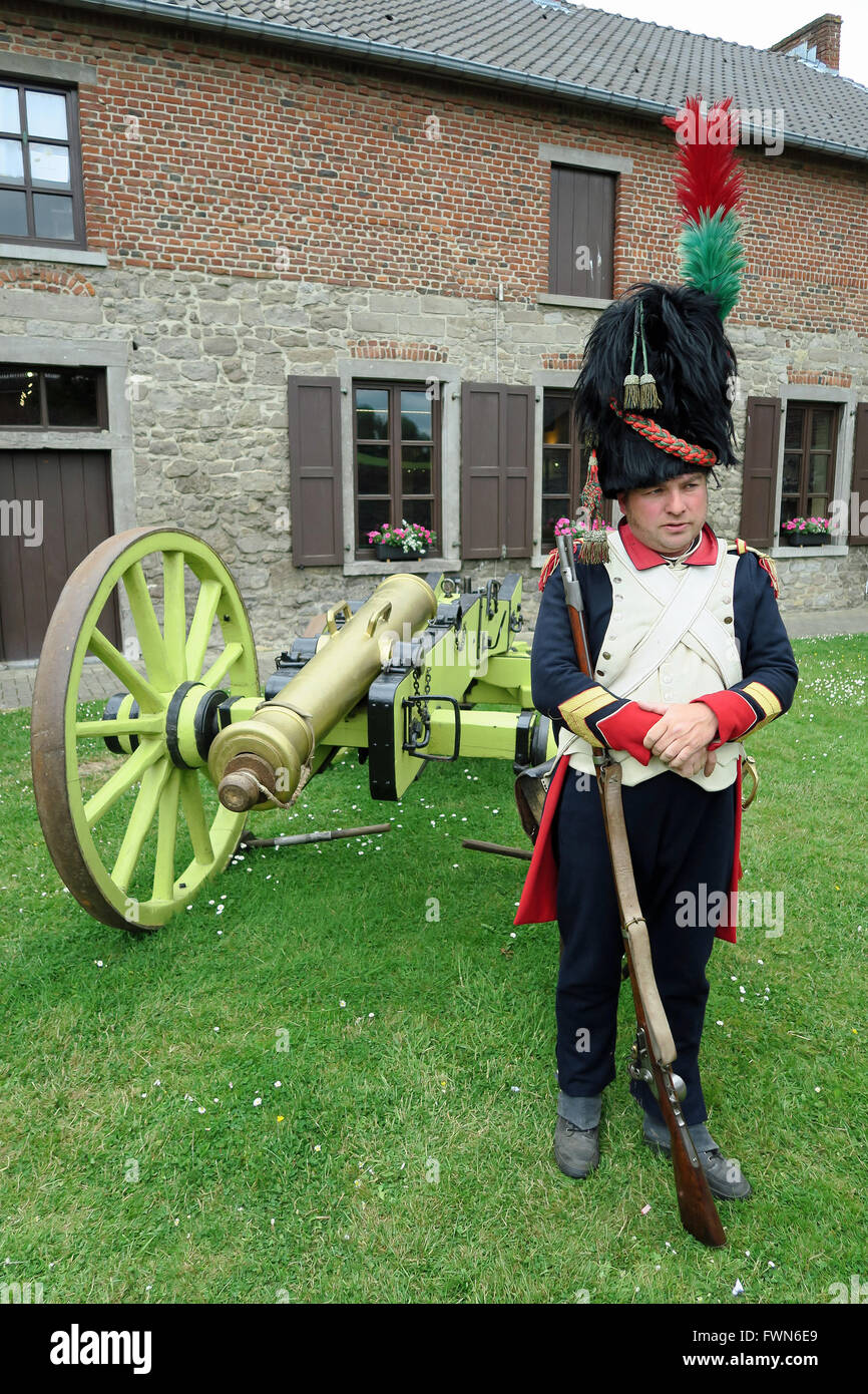 Belgian re-enactor dressed as a French soldier of Napoleon's Imperial Guard at the Battle of Ligny Museum, Ligny. - Stock Image