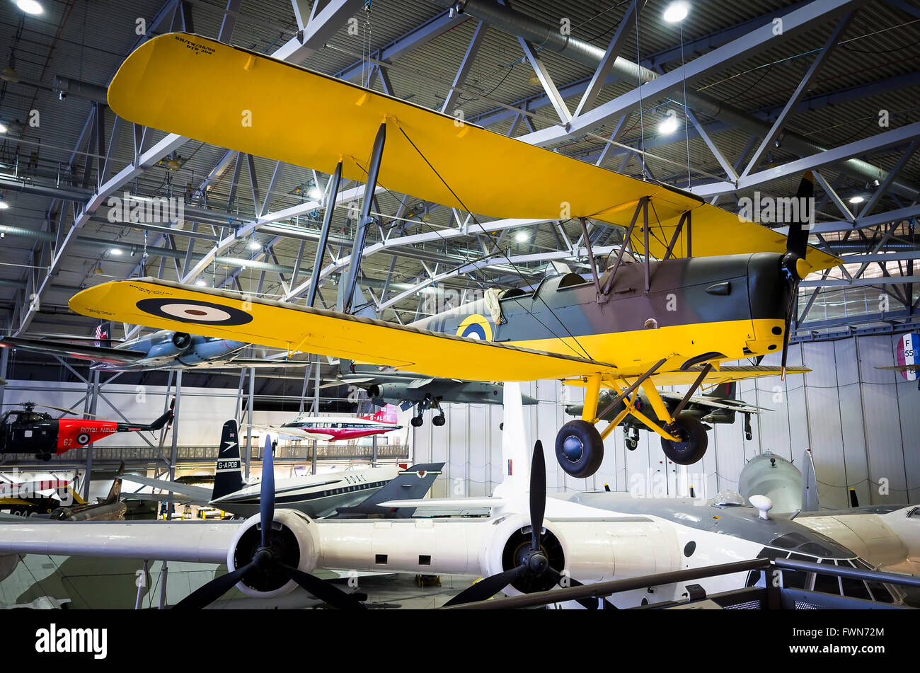De Havilland Tiger Moth training aircraft from WWII on display at IWM Duxford UK - Stock Image