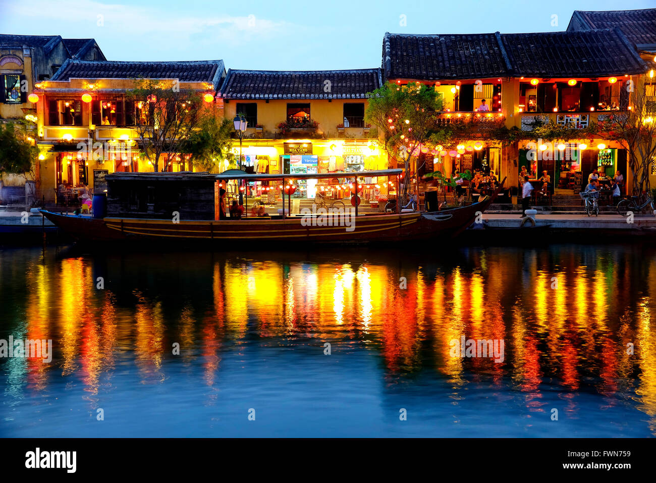 Hoi An riverfront, Hoi An, Vietnam - Stock Image