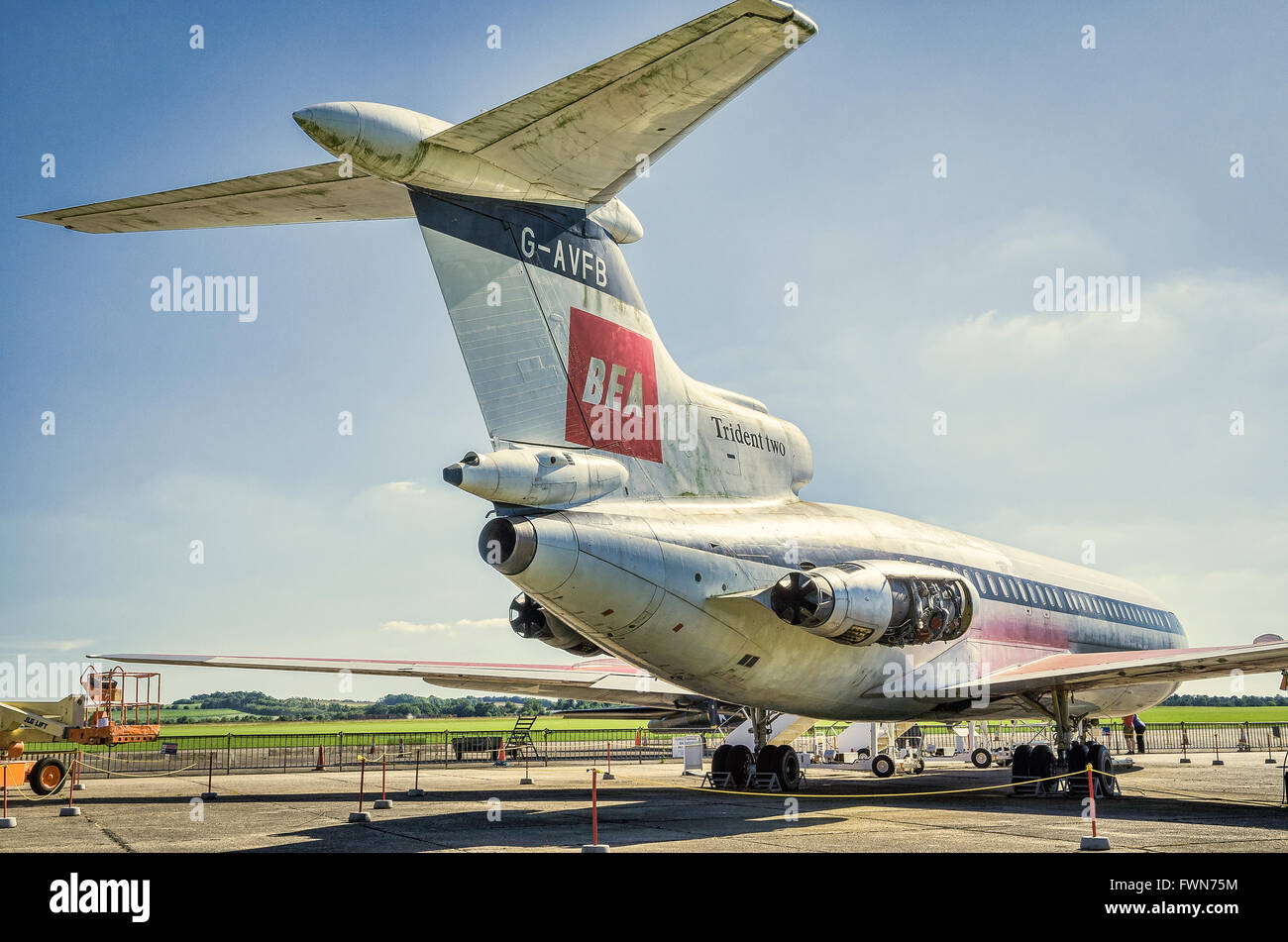 Tail view of ex-BEA Trident Twoe civil airliner on display at IWM Duxford UK - Stock Image