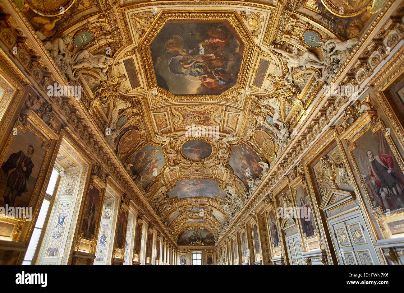 Louvre museum, Apollo gallery ceiling in Paris - Stock Image