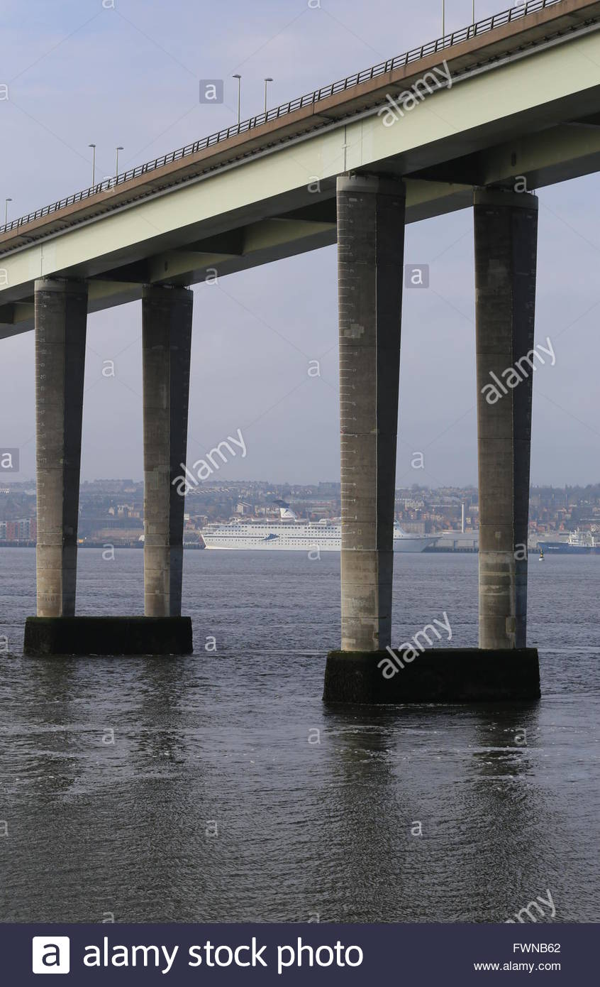 Tay Road Bridge and CMV cruise ship Magellan docked in Dundee Scotland  3rd April 2016 - Stock Image