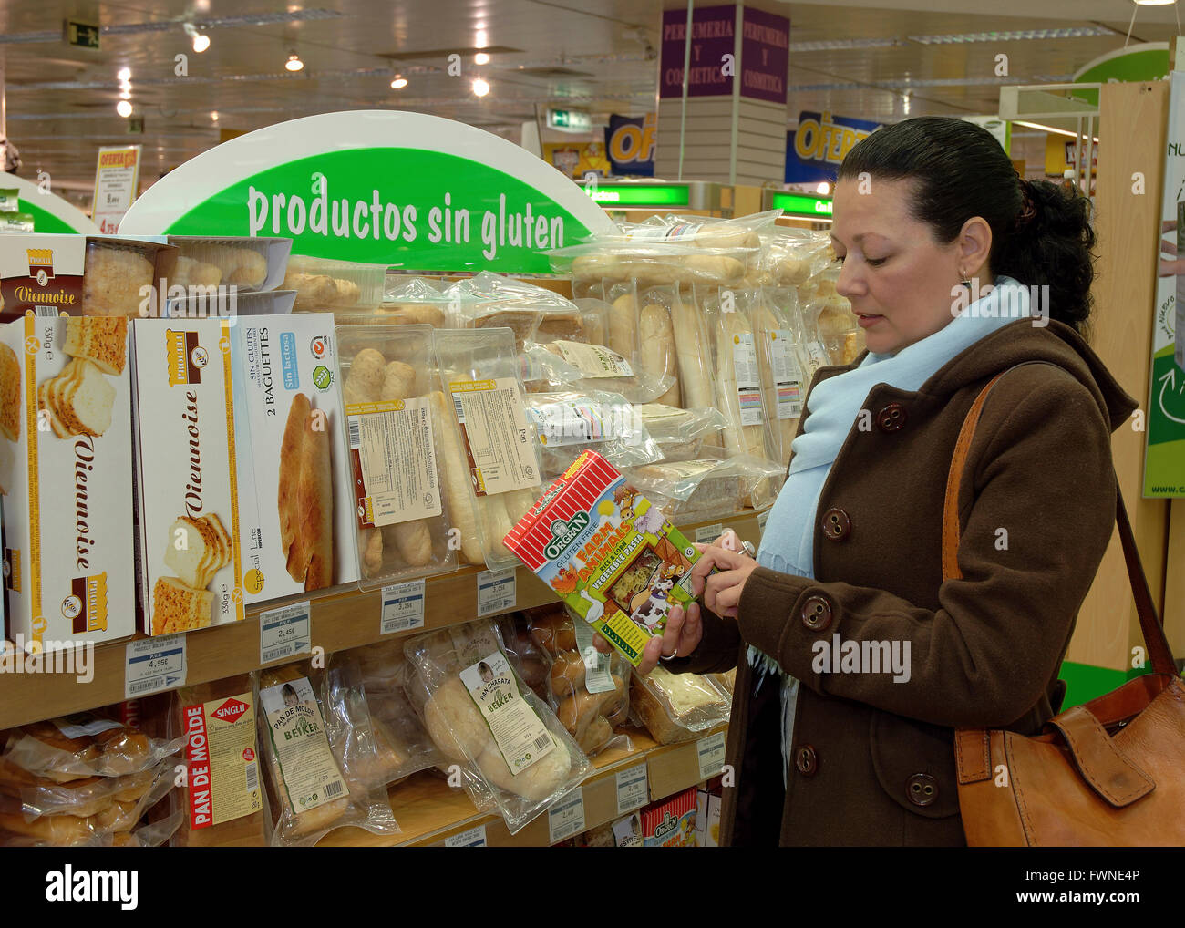 Supermarket, Gluten-free products, Seville, Region of Andalusia, Spain, Europe - Stock Image