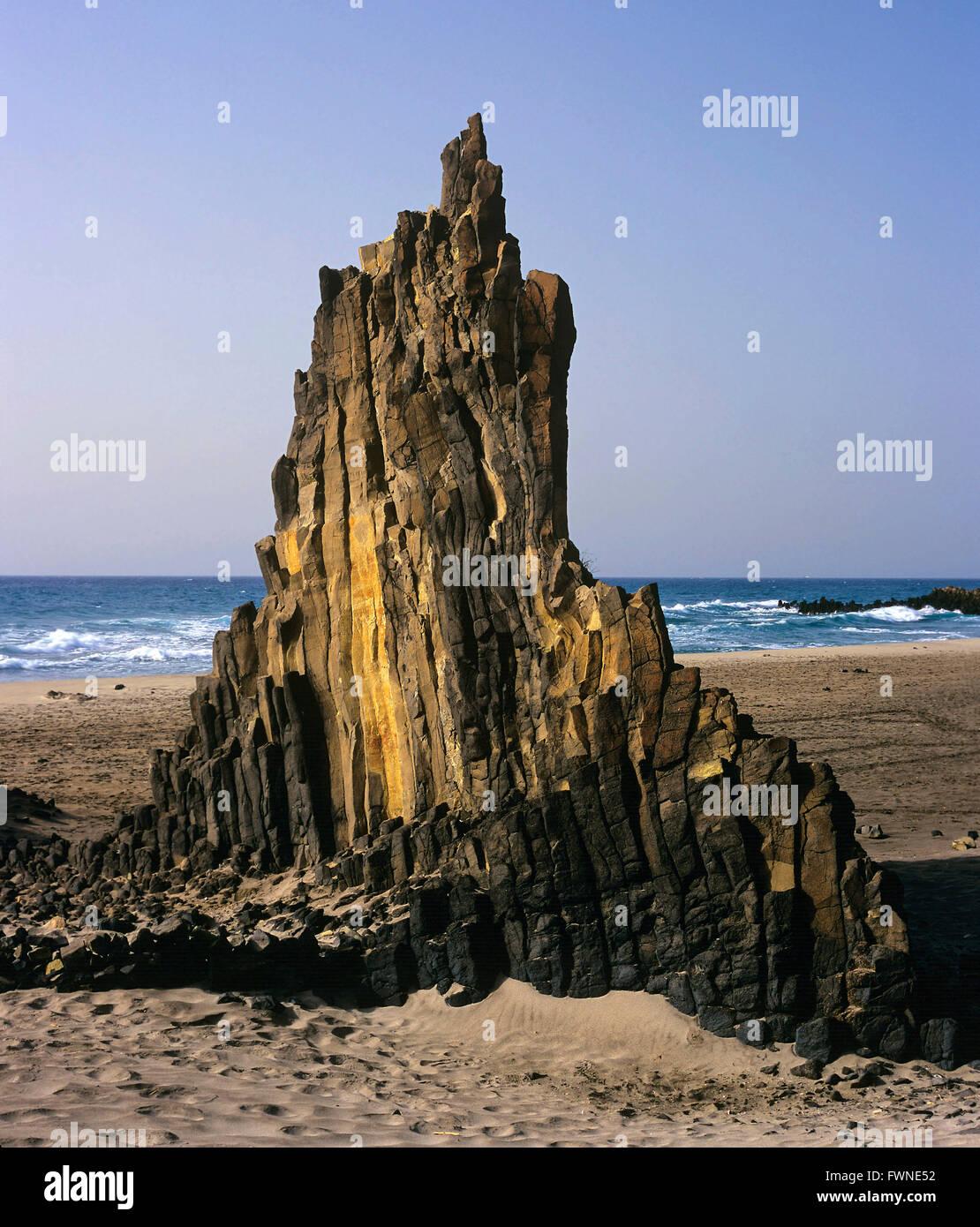 Basalts creek, Natural Park of Cabo de Gata Nijar, Almeria province, Region of Andalusia, Spain, Europe Stock Photo