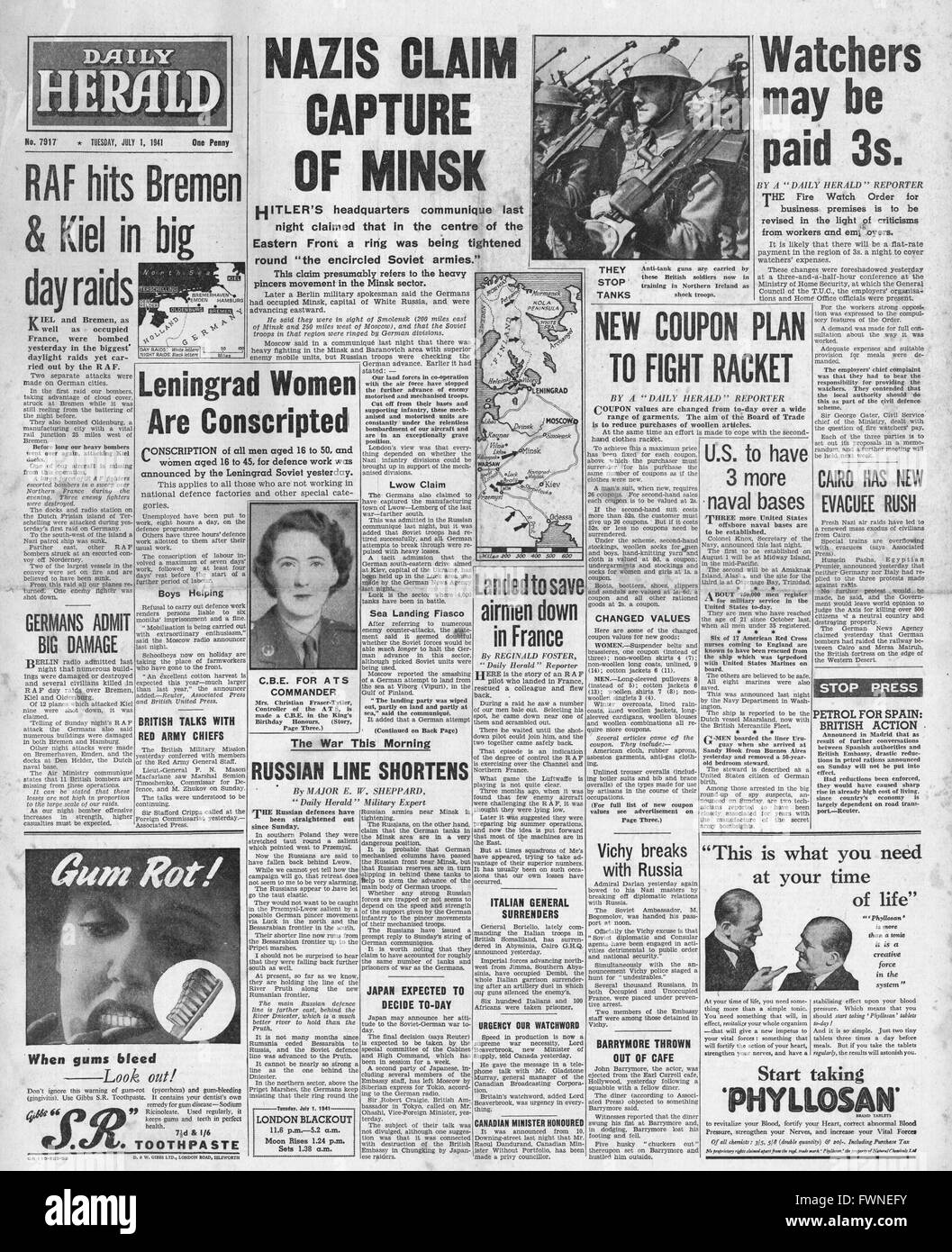 1941 front page  Daily Herald German Forces capture Minsk and RAF bomb Bremen and Kiel Stock Photo